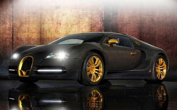 Mansory LINEA Vincero d'Oro Bugatti Veyron against a background of