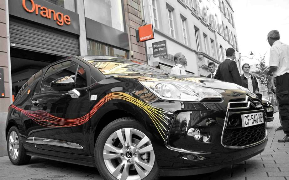 Citroen DS3 in the colors of Orange Fiber in the heart of Strasbourg