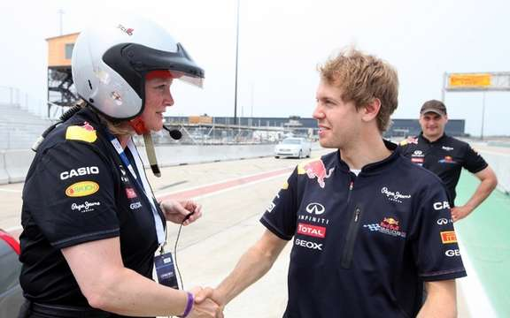 The world champion Formula 1 Sebastian Vettel puts to the test Wendy Duward